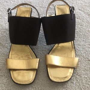 Brown and gold Chanel sandals